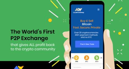 LocalCoinSwap Launches World's First P2P Cryptocurrency Exchange That Gives 100% Profit To The Crypto Community